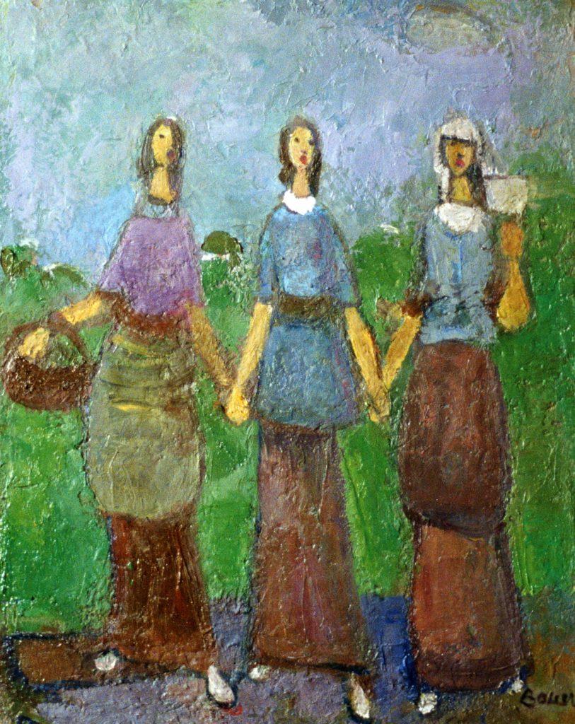 Karl Bauer 002 Drei singende Mädchen gr