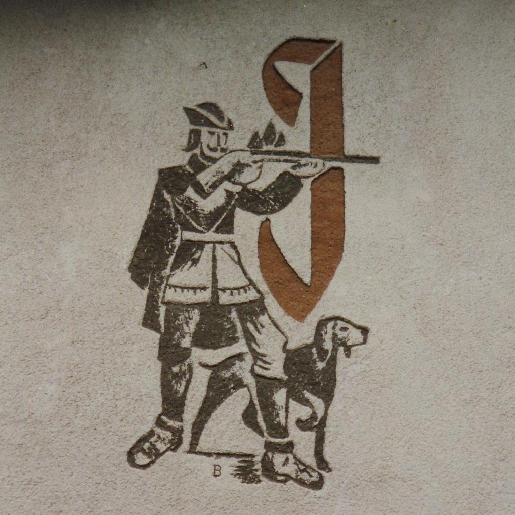 Karl Bauer 586 Jäger mit Hund