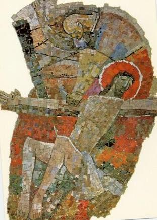 Mosaik Karl Bauer 648 Jesus wird ans Kreuz geschlagen